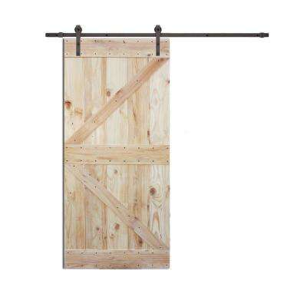 36 in. x 84 in. 2-Side K Design Wood Color Pine Slab Interior Barn Door with 6 ft. Sliding Door Hardware Kit