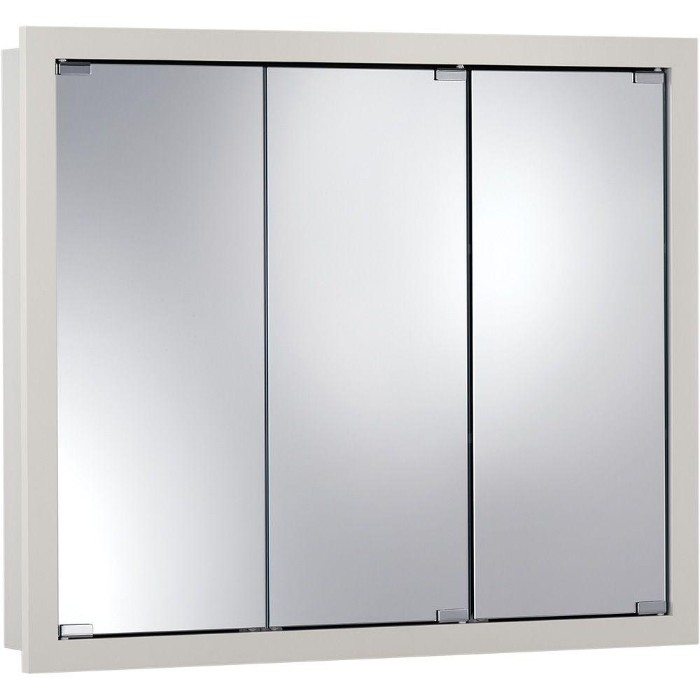 null Granville 24 in. W x 24 in. H x 4-3/4 in. D Framed Surface-Mount Bathroom Medicine Cabinet in Classic White