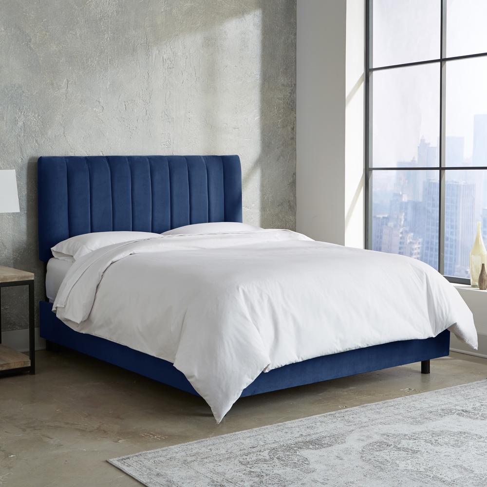 King Channel Seam Bed in Velvet Navy-3653BEDVLVNV - The Home Depot