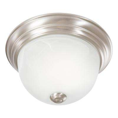 Flushmount Lighting Series 1-Light Satin Nickel Flushmount with White Alabaster Glass Shade