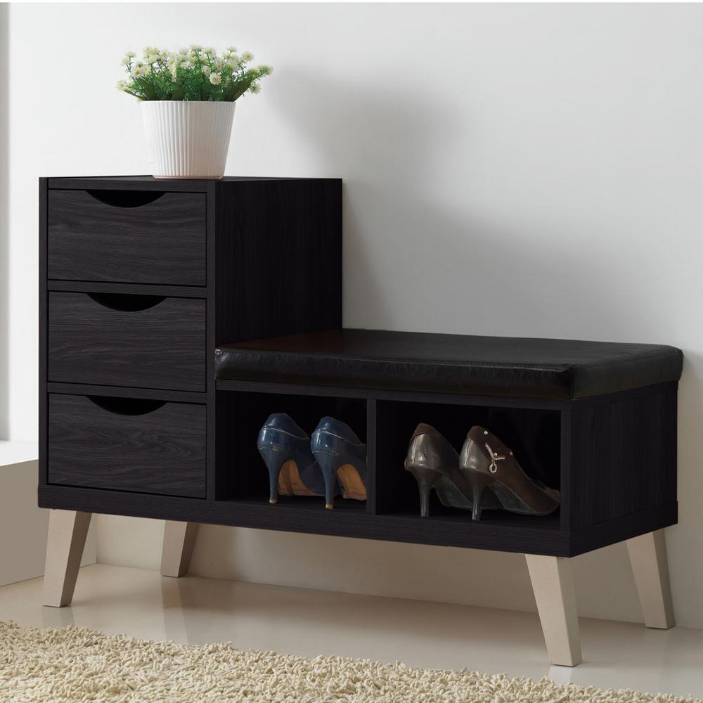 Dark Brown Shoe Storage Bench 3 Pull Out Drawer Faux ...