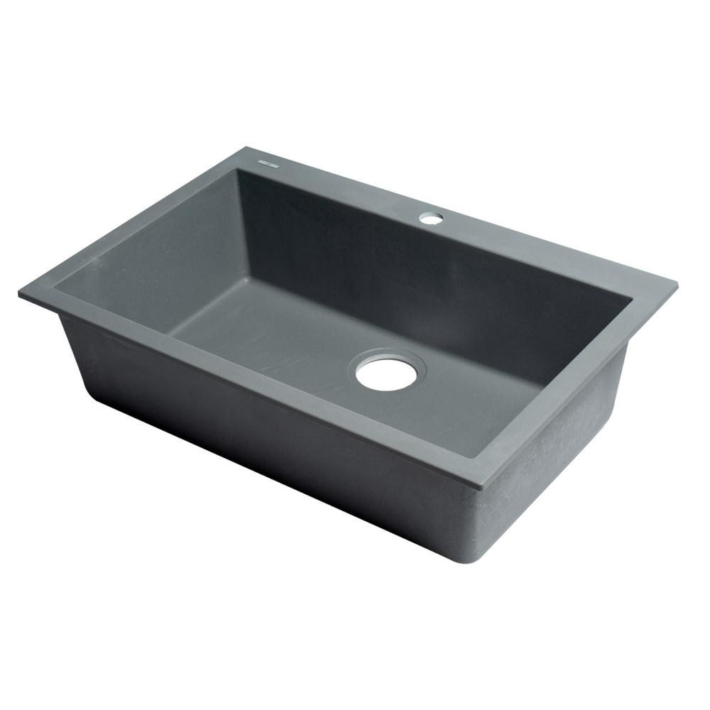 Drop In Granite Composite 29 88 1 Hole Single Bowl Kitchen Sink Anium