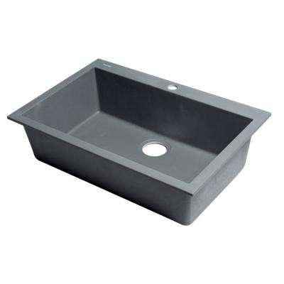 Drop-In Granite Composite 29.88 in. 1-Hole Single Bowl Kitchen Sink in Titanium