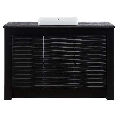 Zuvitria 49 in. Vanity in Black with Granite Vanity Top in Black