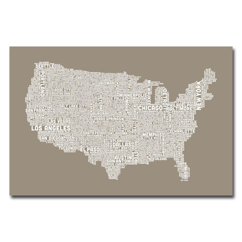 Trademark Fine Art 16 in. x 24 in. US City Map XIV Canvas Art