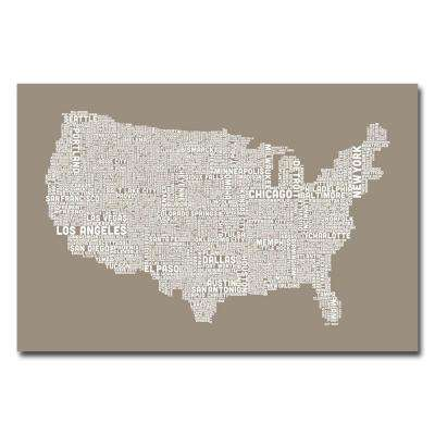 22 in. x 32 in. US City Map XIV Canvas Art