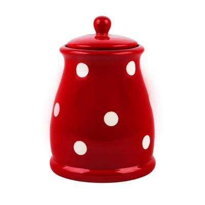 45 oz. Small Red and White Dots Ceramic Canister