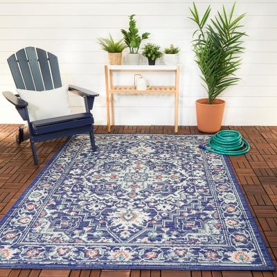 Antique Medallion Blue 5 ft. x 7 ft. Global Indoor/Outdoor Area Rug