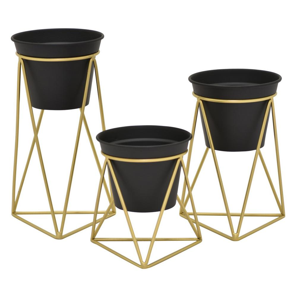 8e3ee21e8157 THREE HANDS 10 in. Black Metal Flower Pot Stand (Set of 3)-14081 ...