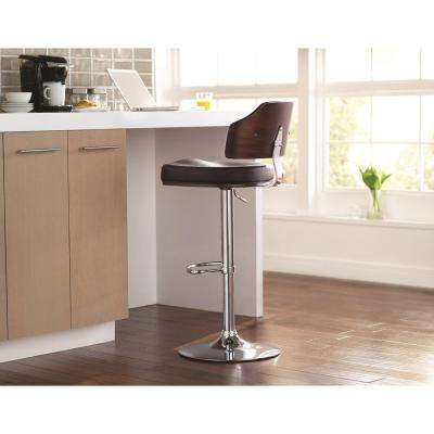 Classic Laminated Wood Bar Stool in Walnut and Black