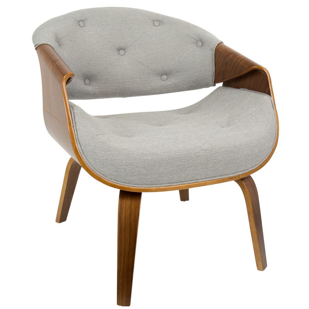 Curvo Mid-Century Grey Modern Tufted Accent Chair