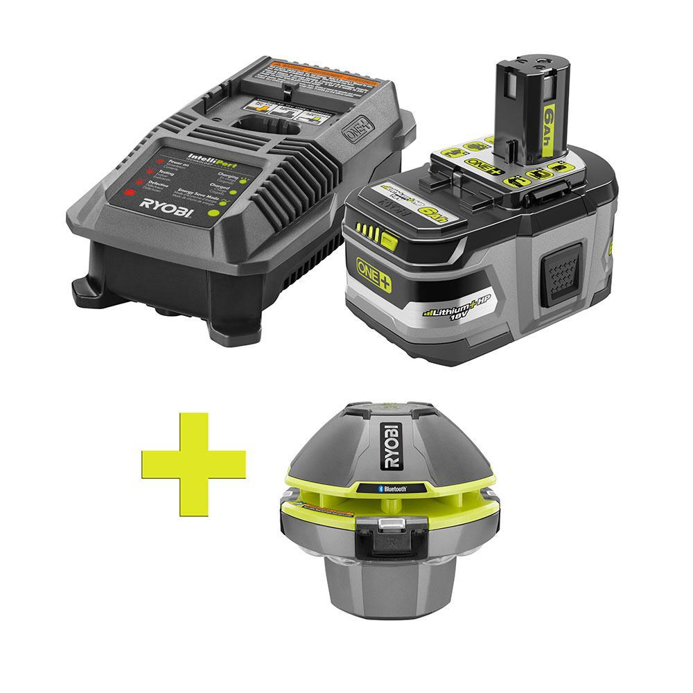 18-Volt ONE+ Lithium-Ion LITHIUM+ HP 6.0 Ah Starter Kit w/ Bonus ONE+ Floating Speaker/Light Show with Bluetooth
