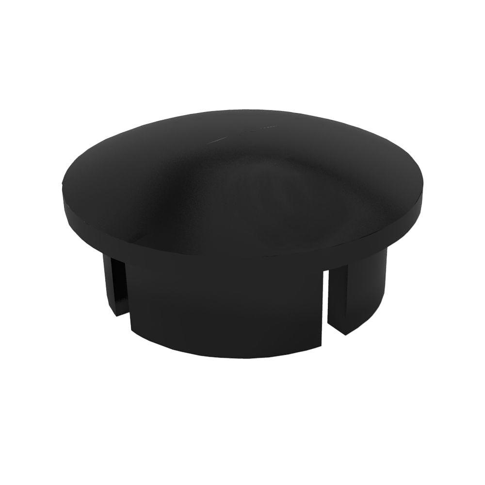 1 in. Furniture Grade PVC Internal Dome Cap in Black (10-Pack)