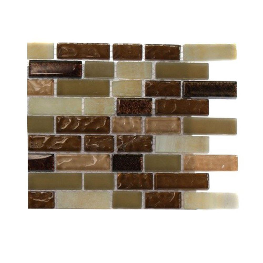 splashback tile southern comfort brick pattern 1 2 in x 2 in marble and glass tile 6 in x 6. Black Bedroom Furniture Sets. Home Design Ideas