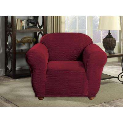 Hayden Water Resistant Merlot Fit Polyester Fit Chair Slip Cover