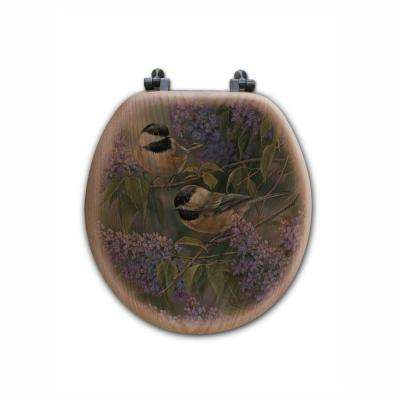Chickadees and Lilac Round Closed Front Wood Toilet Seat in Oak Brown