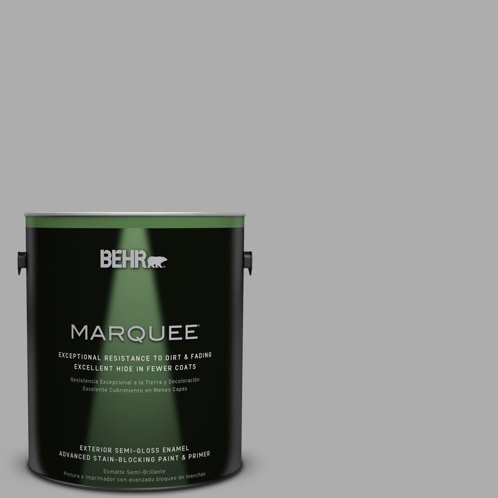 BEHR MARQUEE 1-gal. #N520-3 Flannel Gray Semi-Gloss Enamel Exterior Paint