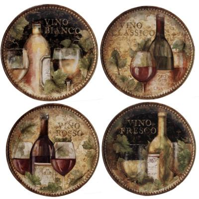 Gilded Wine 9 in. Multi-Colored Salad Plate (Set of 4)