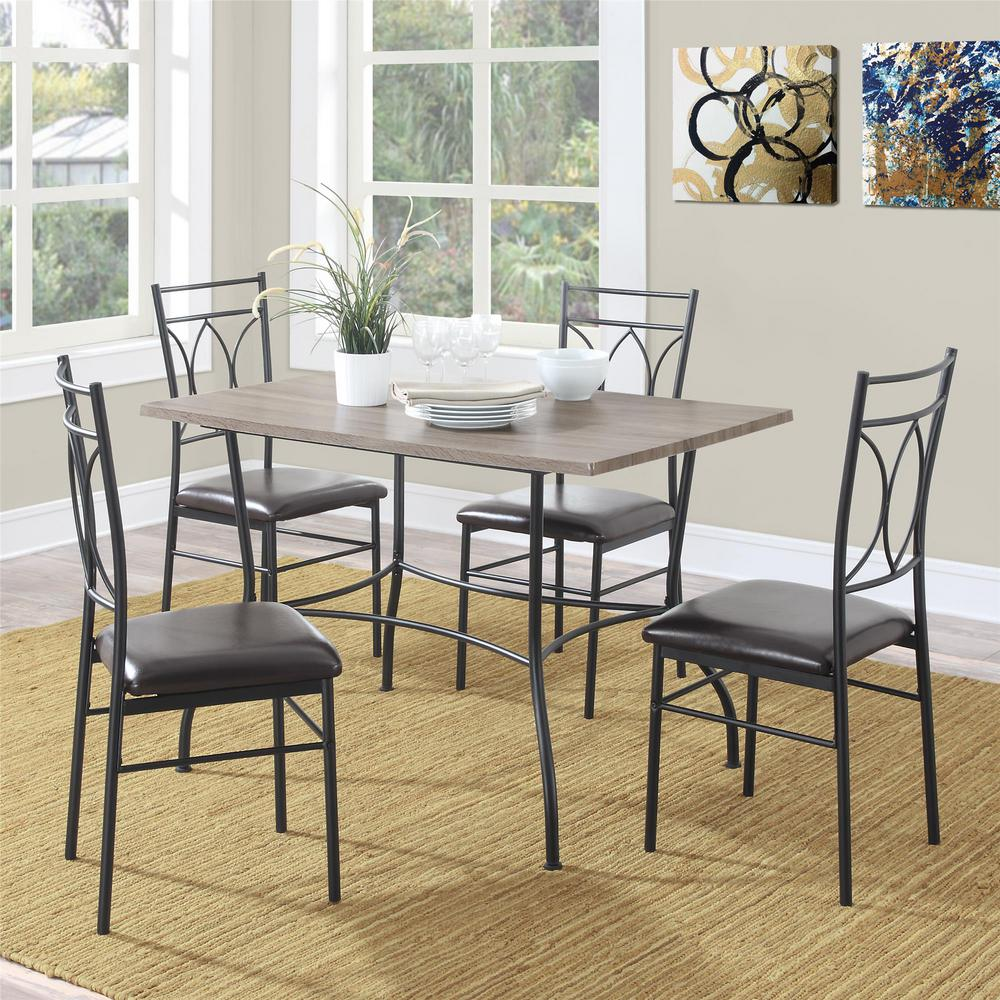 Dark Wood Dining Set: Dorel Living Shelby 5-Piece Rustic Black Wood And Metal Dining Set-FA6794