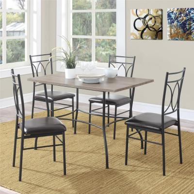 Shelby 5-Piece Rustic Black Wood and Metal Dining Set