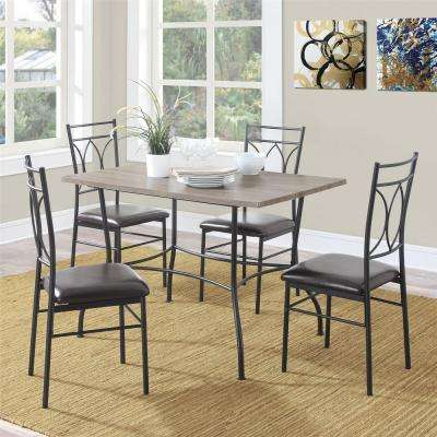 Superbe Shelby 5 Piece Rustic Black Wood And Metal Dining Set