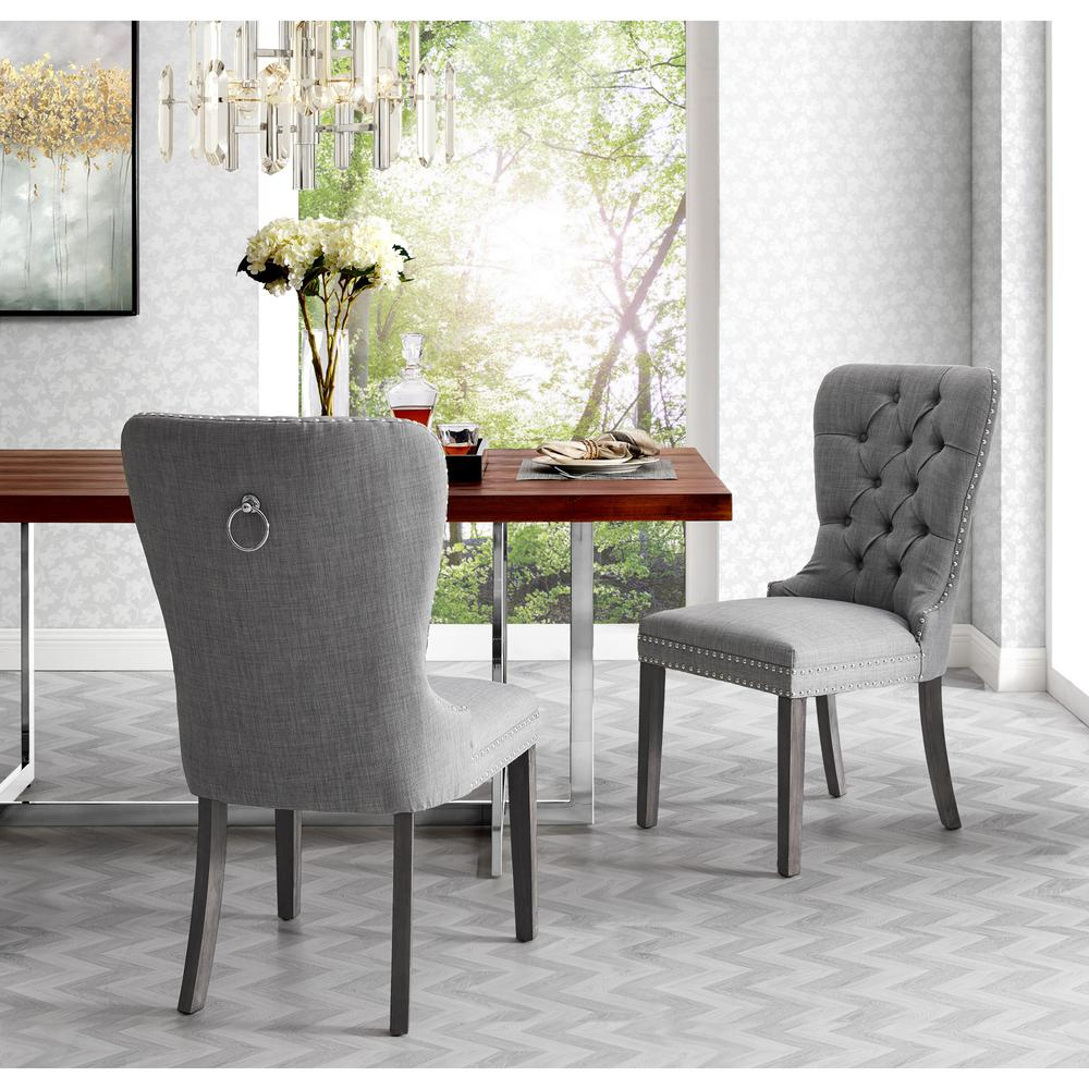 Inspired Home Nevaeh Light Grey Linen Ring Handle Nailhead Dining Chair Set Of 2 Ad88 03lg2 Hd The Home Depot