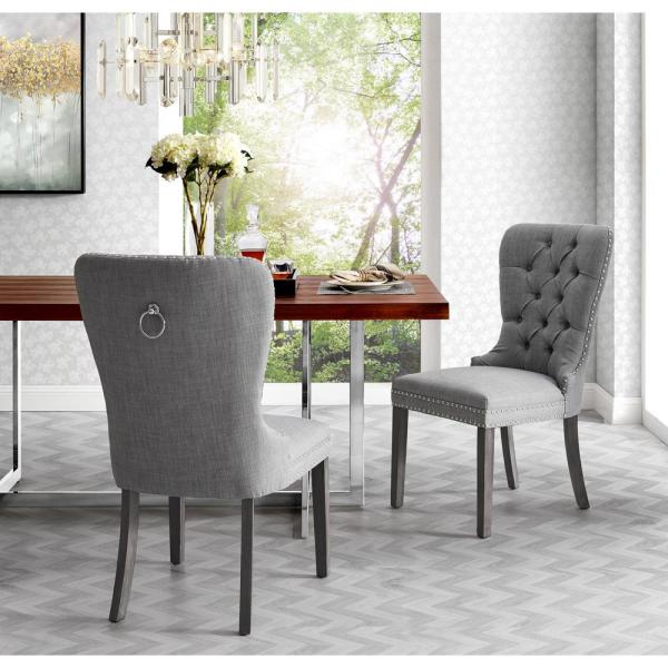 Inspired Home Nevaeh Light Grey Linen Ring Handle Nailhead Dining Chair