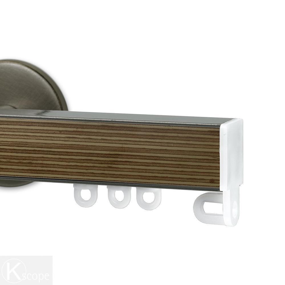 Nexgen 72 in. Non-Adjustable Single Traverse Window Curtain Rod Set in Antique Silver with Zebrano Applique