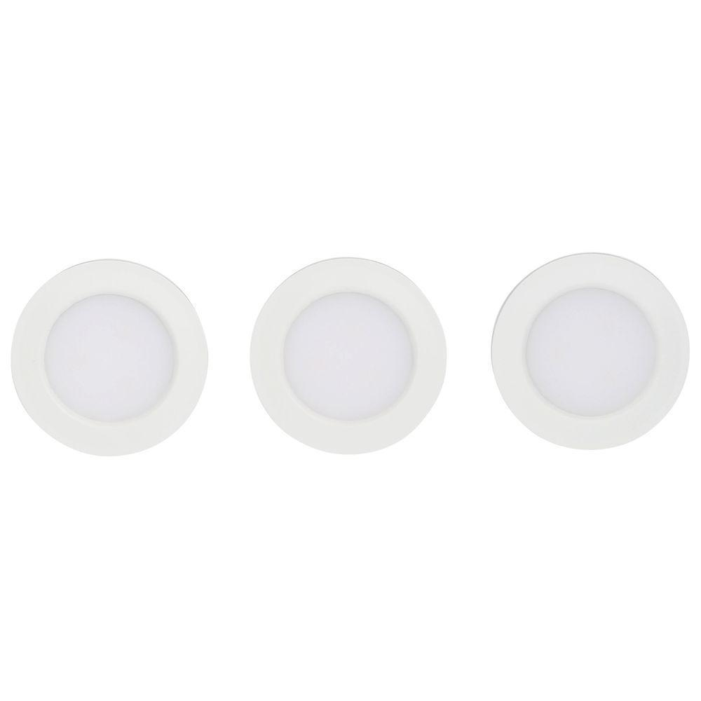 Commercial Electric Led Puck Lights: Commercial Electric 3-Light White LED Puck Light Kit