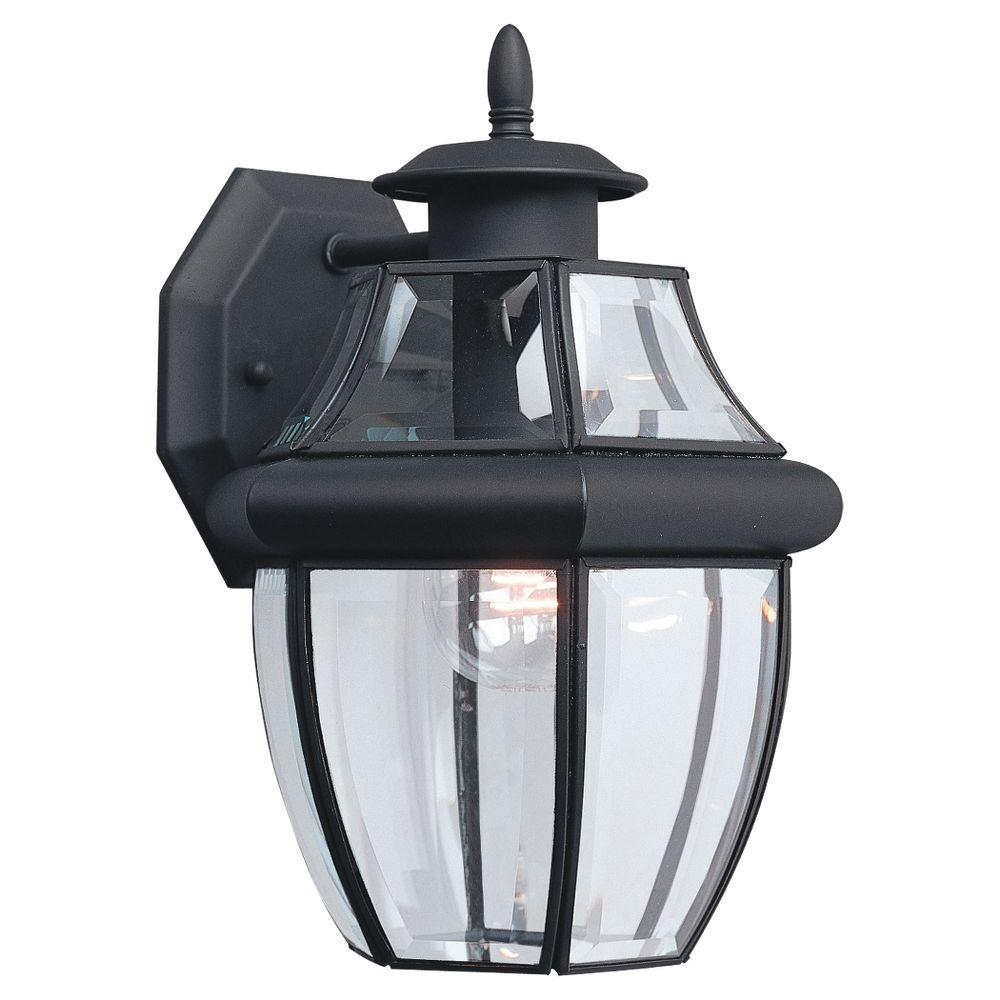 Sea Gull Lighting Lancaster 1 Light Black Outdoor Wall Lantern Sconce