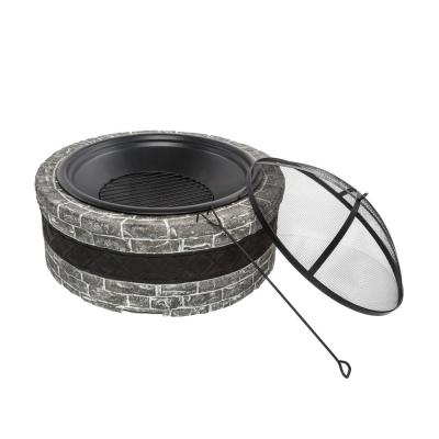 35 in. x 20.5 in. Round Cast Stone Wood Burning Fire Pit, Charcoal Gray