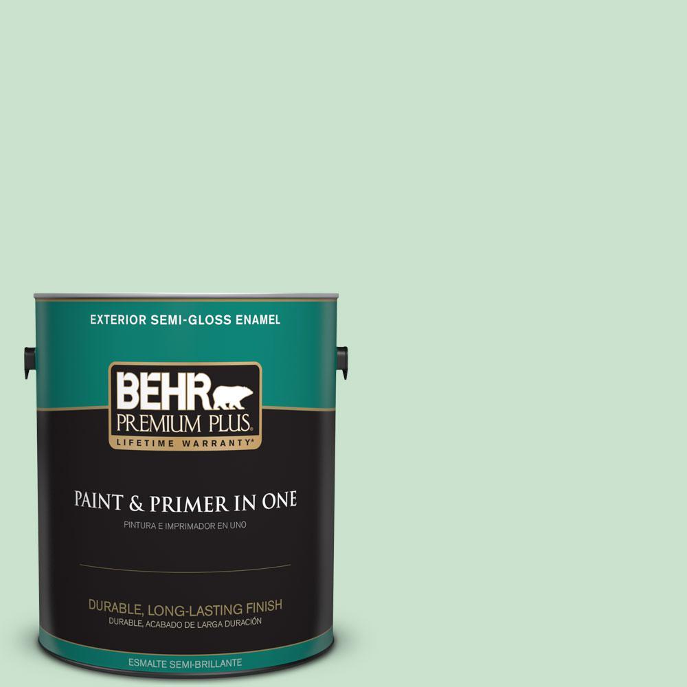 1-gal. #M410-2 Wishful Green Semi-Gloss Enamel Exterior Paint