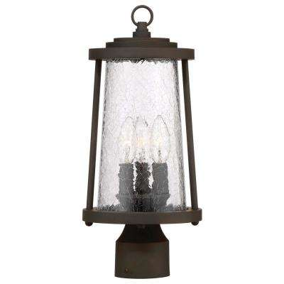 Haverford Grove Collection 3-Light Outdoor Oil Rubbed Bronze Finish Post Light with Clear Crackle Glass