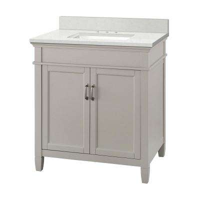 Ashburn 31 in. W x 22 in. D Vanity Cabinet in Grey with Engineered Marble Vanity Top in Snowstorm with White Basin