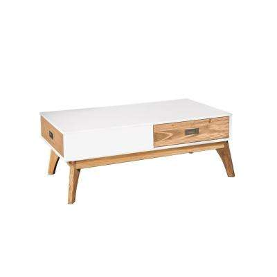 Jackie 2.0 2-Drawer White and Natural Wood Coffee Table