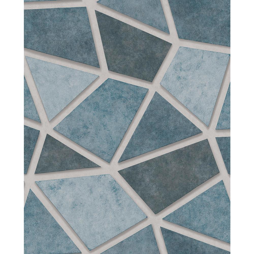 Coty Blue Mosaic Wallpaper Sample
