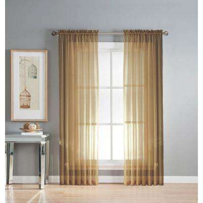 Sheer Elegance Faux Linen Rod Pocket Extra Wide Curtain Panel, 54 in. W x 84 in. L (1 Pair)