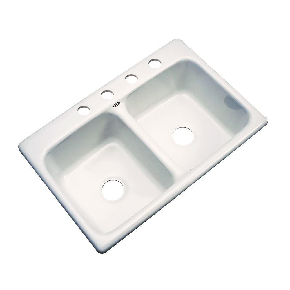 thermocast newport drop in acrylic 33 in 4 hole double bowl kitchen sink in white 40400   the home depot thermocast newport drop in acrylic 33 in 4 hole double bowl      rh   homedepot com