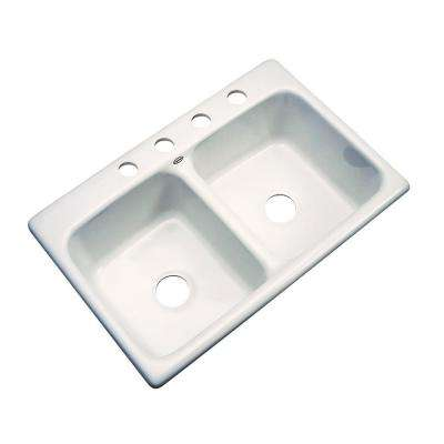 Newport Drop-In Acrylic 33 in. 4-Hole Double Bowl Kitchen Sink in Biscuit