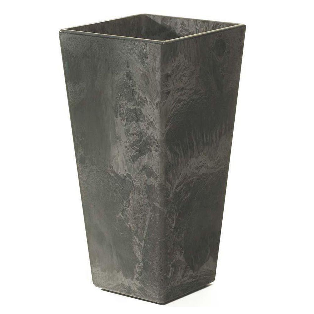 Black and white flower pots - Ella 11 In Square Black Resin Planter