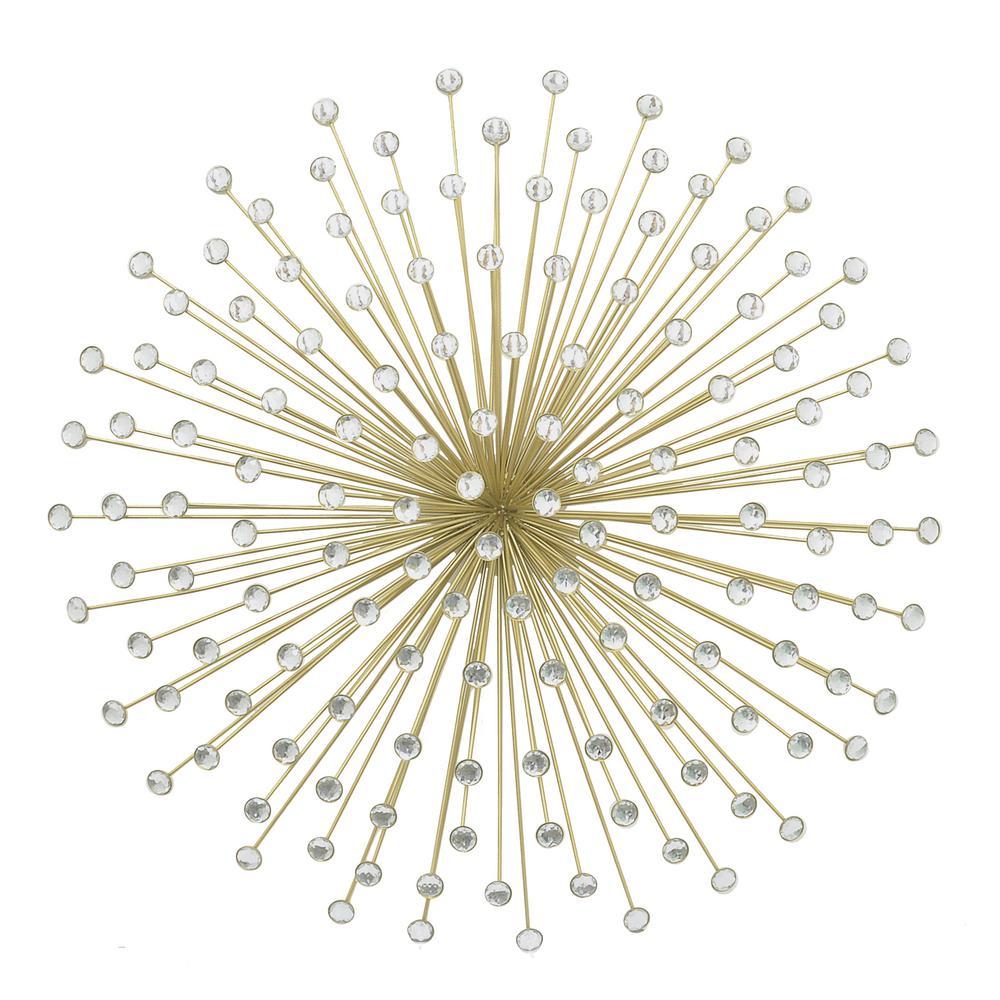 Elegant Three Hands Metal Gold Jeweled Sunburst Wall Decor