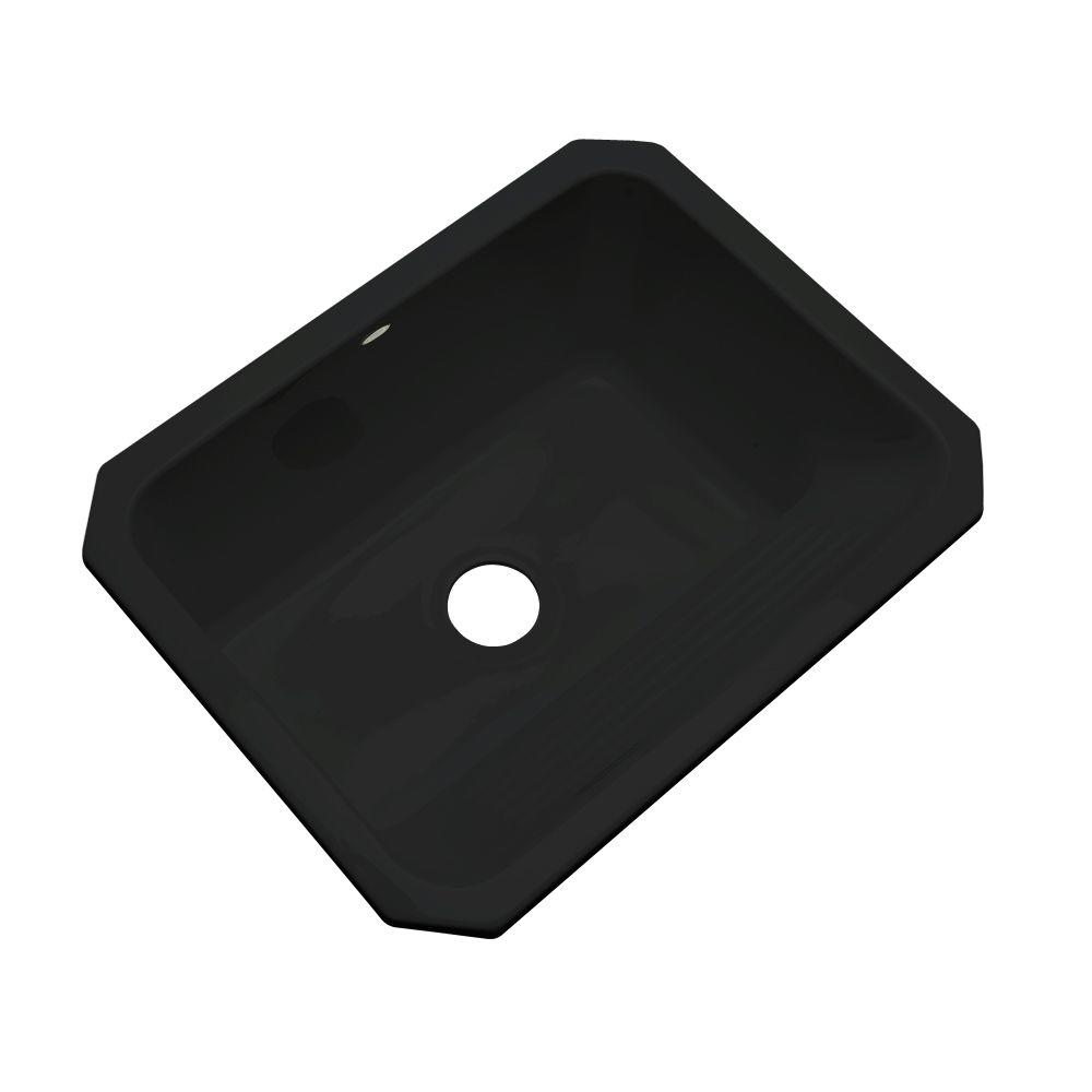 Thermocast Kensington Undermount Acrylic 25 in. Single Bowl Utility Sink in Black