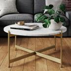 Piper White Faux Marble Brass Gold Metal Frame Round Modern Living Room Coffee Table