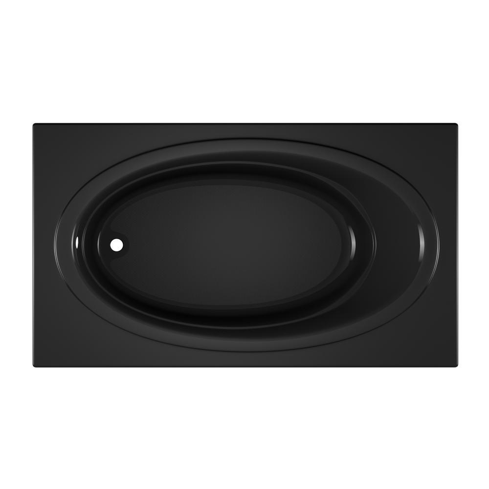 NOVA 72 in. x 42 in. Acrylic Rectangular Drop-in Soaking Non-Whirlpool Bathtub in Black