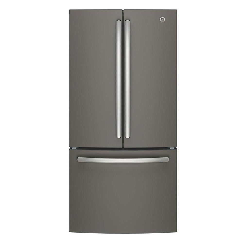 GE 33 in. W 24.8 cu. ft. French Door Refrigerator in Slate