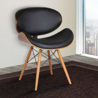 Cassie 31 in. Black Faux Leather and Walnut Wood Finish Mid-Century Dining Chair