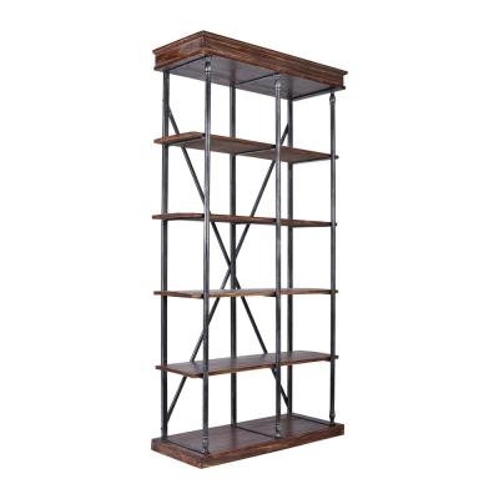 78.74 in. Rustic Pine/Black Metal 5-shelf Standard Bookcase with Open Back