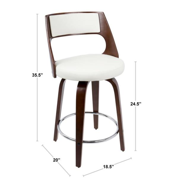 Lumisource Cecina 24 In Cherry With White Faux Leather Counter Stool Set Of 2 B24 Cecinar Chw2 The Home Depot