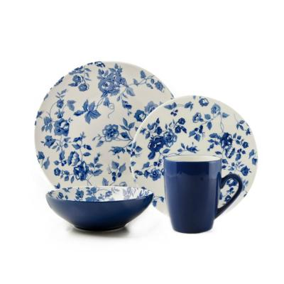 16-Piece Laura Blue Stoneware Dinnerware Set (Service for 4)