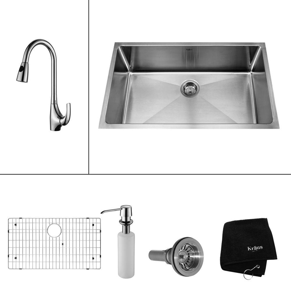KRAUS All-in-One Undermount Stainless Steel 32 in. Single Basin Kitchen Sink with Faucet and Accessories in Chrome